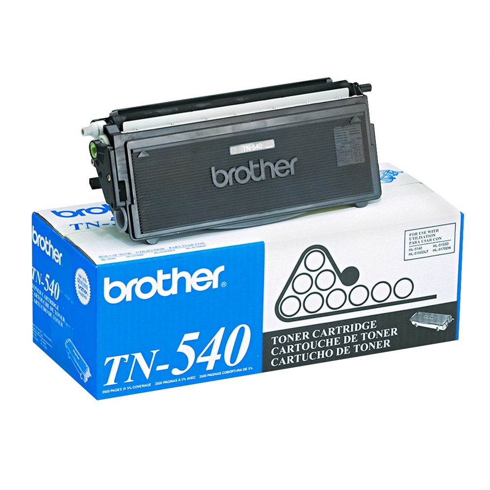 Brother TN540 Toner, Black (TN540) Exceptional black and white printing with Brother toners. A cartridge that yields an optimal number of pages for efficient and economical printing jobs. All components are manufactured with original materials. High-quality is what you'll experience in each cartridge. Device Types: Laser Printer; Color(s): Black; Page-Yield: 3500; Supply Type: Toner. Size: TN540.