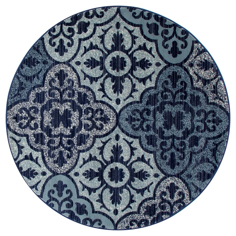 Image of Navy Blue Classic Woven Round Area Rug - (5') - Art Carpet