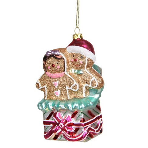 "NORTHLIGHT 4.5"" Glittered Gingerbread Couples in Gift Box Glass Christmas Ornament - Brown/Pink - image 1 of 1"