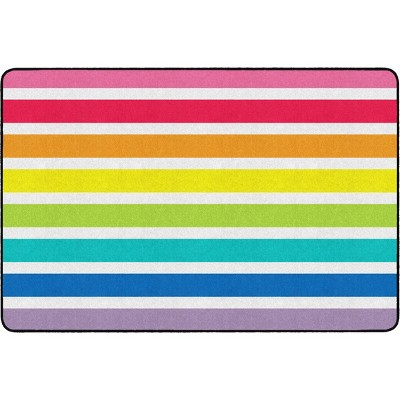 """5'x7'5"""" Rectangle Indoor and Outdoor Stripe Nylon Accent Rug Multicolored - Flagship Carpets"""