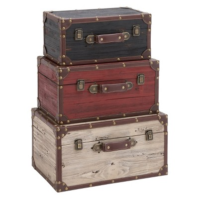 Wood and Leather (Set of 3) Trunks Red - Olivia & May