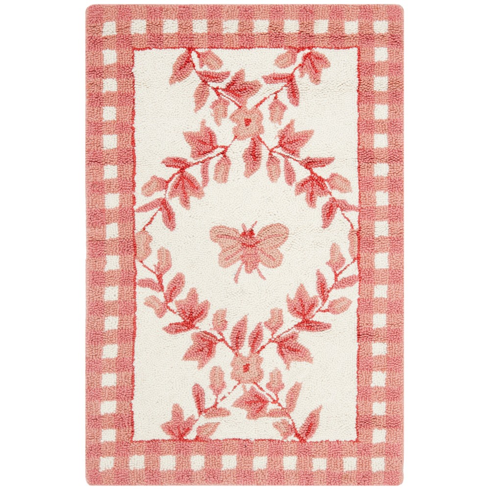 Bee Hooked Accent Rug Ivory/Rose