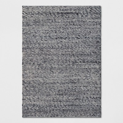 7'X10' Chunky Knit Rug Wool Woven Charcoal - Project 62™
