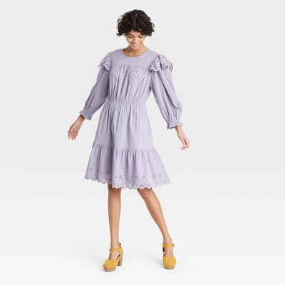 Women's Ruffle Long Sleeve Ruffle Dress - Universal Thread™