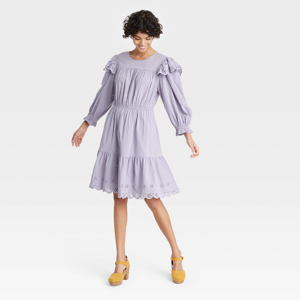 70s Clothes | Hippie Clothes & Outfits Womens Ruffle Long Sleeve Ruffle Dress - Universal Thread Lilac XXL Purple $29.99 AT vintagedancer.com