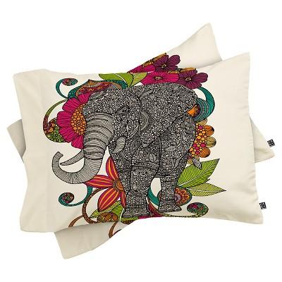 Valentina Ramos Ruby the Elephant Lightweight Pillowcase Standard Cream - Deny Designs