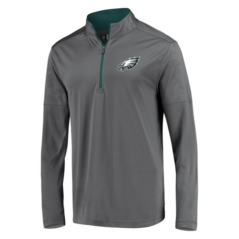 best service ba003 84068 NFL Philadelphia Eagles Men's Poly Embossed Gray 1/2 Zip Hoodie