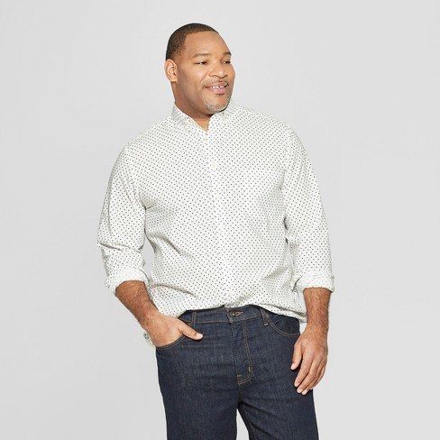Men's Big & Tall Standard Fit Long Sleeve Northrop Poplin Button-Down Shirt - Goodfellow & Co™ White - image 1 of 3
