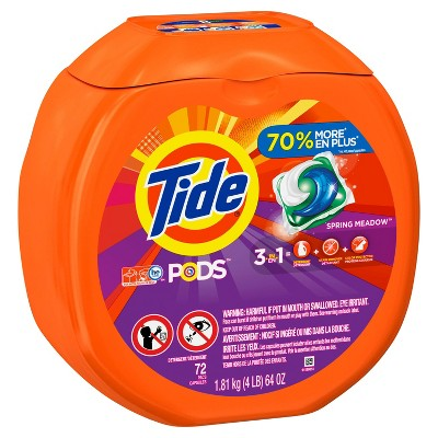 Tide Pods Spring Meadow Scent Laundry Detergent Pacs - 72ct