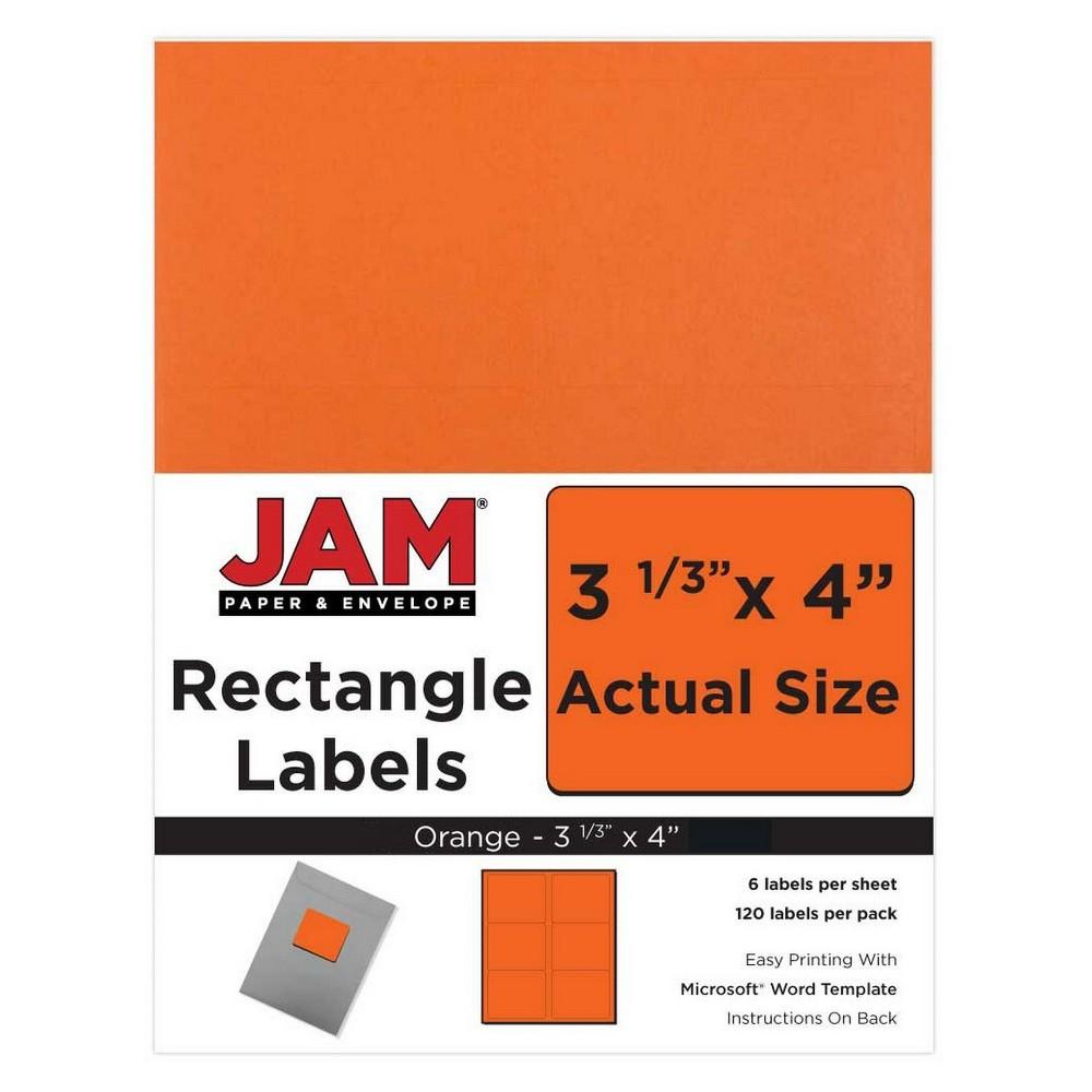 """Image of """"JAM Paper Mailing Labels 3 1/3"""""""" X 4"""""""" 120ct - Orange"""""""