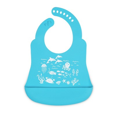 Silicone Under The Sea Bib Blue - Brinware