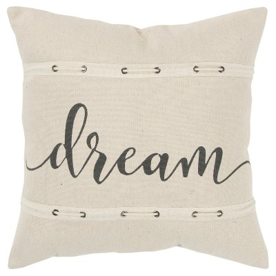 Sentiment Decorative Filled Oversize Square Throw Pillow Neutral - Rizzy Home