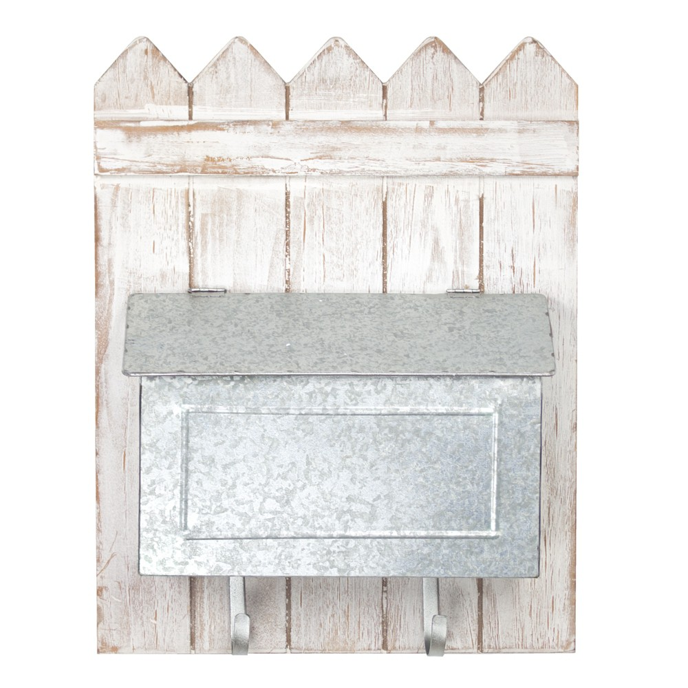 Metal Wall Pocket On Wooden Fence Wall Decor White - E2 Concepts
