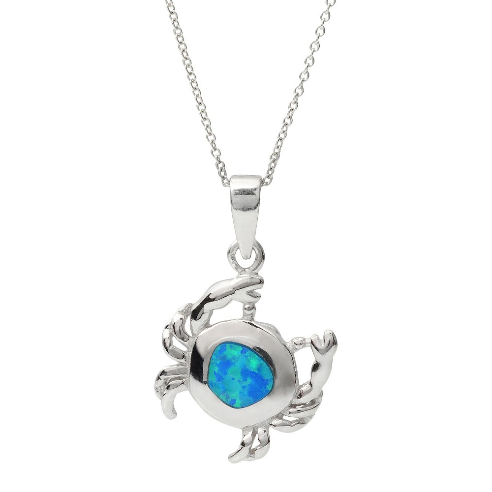 1/2 CT. T.W. Oval Cut Opal Inlay Set Crab Pendant Necklace in Sterling Silver - Silver (18), Women's