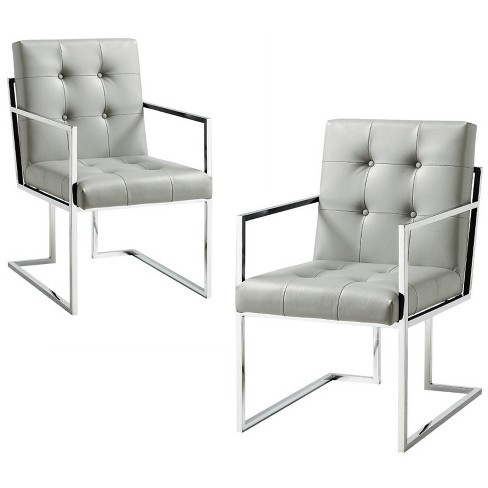 Evan Light Grey PU Leather Dining Chair - Set of 2 - Button Tufted in Gray - Posh Living - image 1 of 3