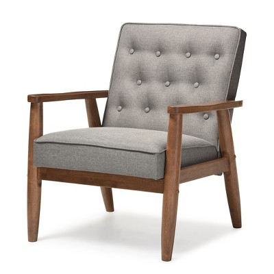 Sorrento Mid - Century Retro Modern Faux Leather Upholstered Wooden Lounge Chair - Baxton Studio
