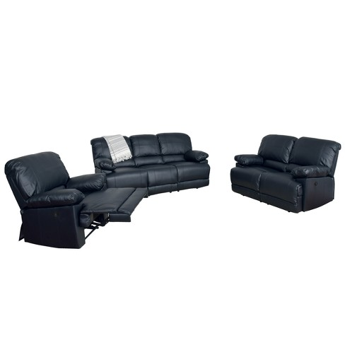 Lea Bonded Leather Power Recliner 3pc Sofa and Chair Set - CorLiving - image 1 of 7