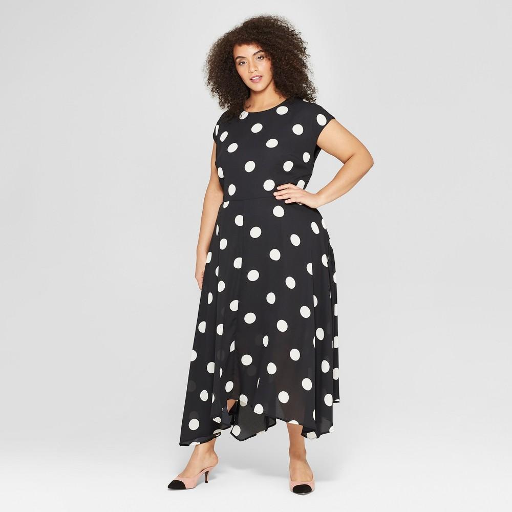 Women's Plus Size Polka Dot Cap Sleeve Asymmetric Hem Midi Dress - Who What Wear Black/White 4X