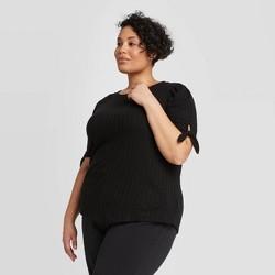 Women's Plus Size Short Sleeve Crewneck Pointelle Tie Top - Ava & Viv™ Black