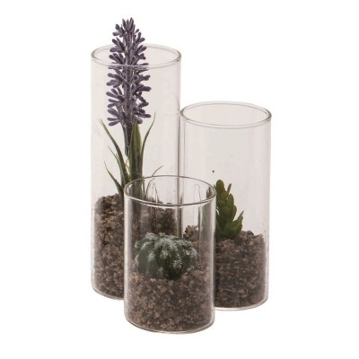 Transpac Glass 5 in. Clear Spring 3-Tiered Vase Faux Succulents Display