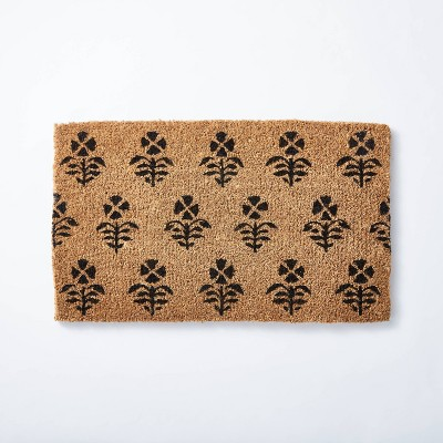 "1'6""x2'6"" Block Print Coir Doormat Natural - Threshold™ designed with Studio McGee"