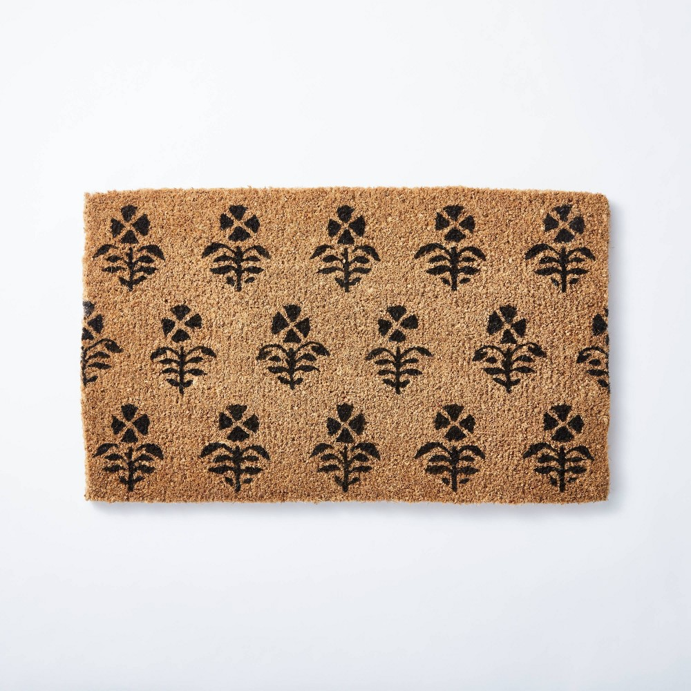 "Image of ""1'6""""x2'6"""" Block Print Coir Doormat Natural - Threshold designed with Studio McGee"""
