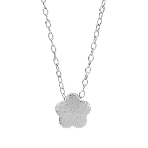 "Women's Journee Collection Flower Pendant Necklace in Sterling Silver - Silver (16"") - image 1 of 2"