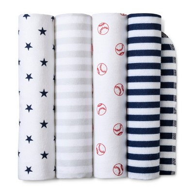 Flannel Baby Blankets Home Run 4pk - Cloud Island™ Navy