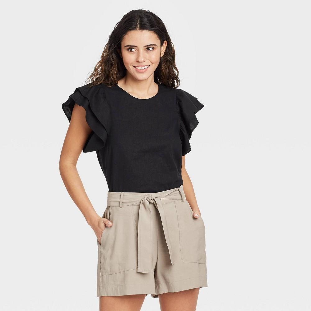 Women 39 S Ruffle Short Sleeve Linen Top A New Day 8482 Black L