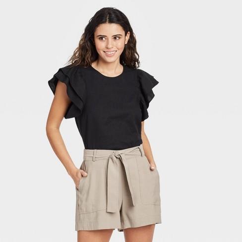 Women's Ruffle Short Sleeve Linen Top - A New Day™ - image 1 of 3