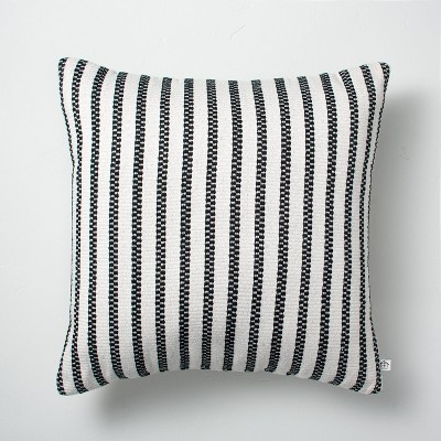 """18"""" x 18"""" Vertical Stripes Indoor/Outdoor Throw Pillow Black/Sour Cream - Hearth & Hand™ with Magnolia"""