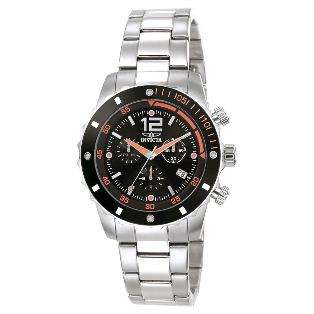 Men's Invicta 1245 Specialty Quartz 3 Hand Black Dial Link Watch - Black