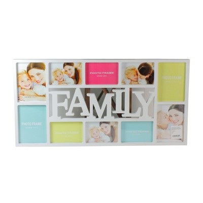 """Northlight 28.75"""" White Multi-Size """"Family"""" Collage Photo Picture Frame Wall Decoration"""
