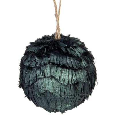 "Northlight 3"" Green Metallic Downswept Faux Fur Hanging Christmas Ornament Ball"