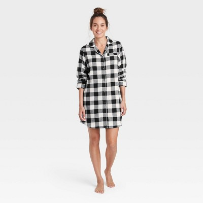 Women's Perfectly Cozy Plaid Flannel Nightgown - Stars Above™ Black