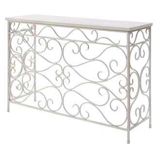 Wyoming Metal and Wood Console White - Johar Furniture