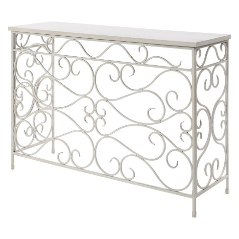 Johar Furniture Wyoming Metal and Wood Console White - image 1 of 3