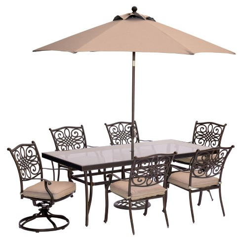 Traditions 9pc Rectangle Metal Patio Dining Set w/ 9' Umbrella & Stand - Tan - Hanover - image 1 of 9