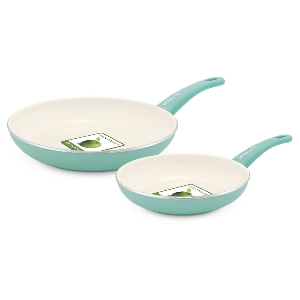 "Image of ""GreenLife Soft Grip Ceramic Non-Stick Open Frypan 7""""x10"""" Turquoise"""