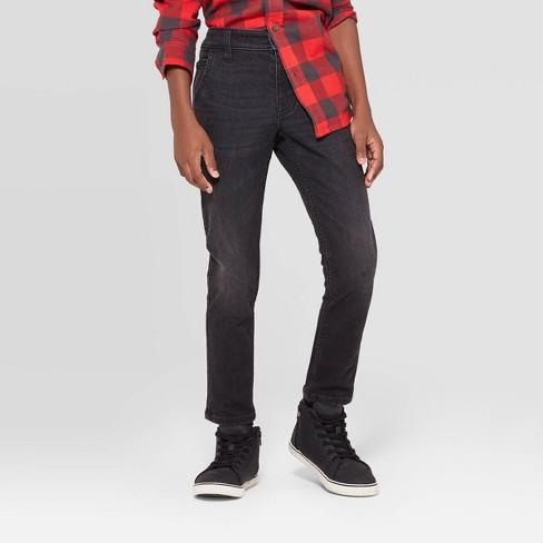 Boys' Winter Brushed Back Skinny Fit Jeans - Cat & Jack™ Black - image 1 of 3