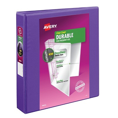 """Avery 1.5"""" Durable Ring Binder with Clear Cover, 8.5"""" x 11"""" - Purple"""