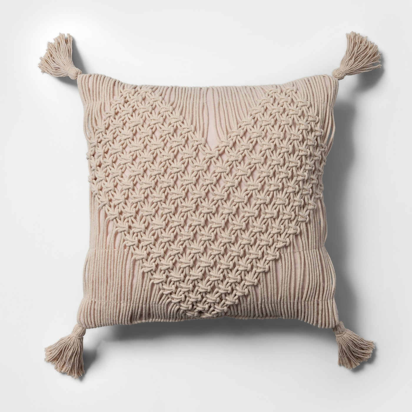Macrame Heart Shaped Square Throw Pillow Cream - Opalhouse™ - image 1 of 3