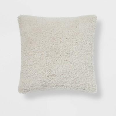 Sherpa Square Pillow Light Gray - Room Essentials™
