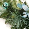"""Northlight 6' x 9"""" Unlit Blue/Silver Peacock and Poinsettia Artificial Christmas Garland - image 2 of 2"""