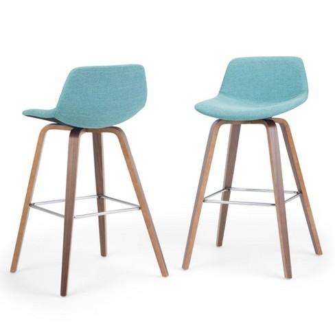 Cool Cacey Bentwood Counter Height Stool Set Of 2 Aqua Blue Linen Fabric Wyndenhall Cjindustries Chair Design For Home Cjindustriesco
