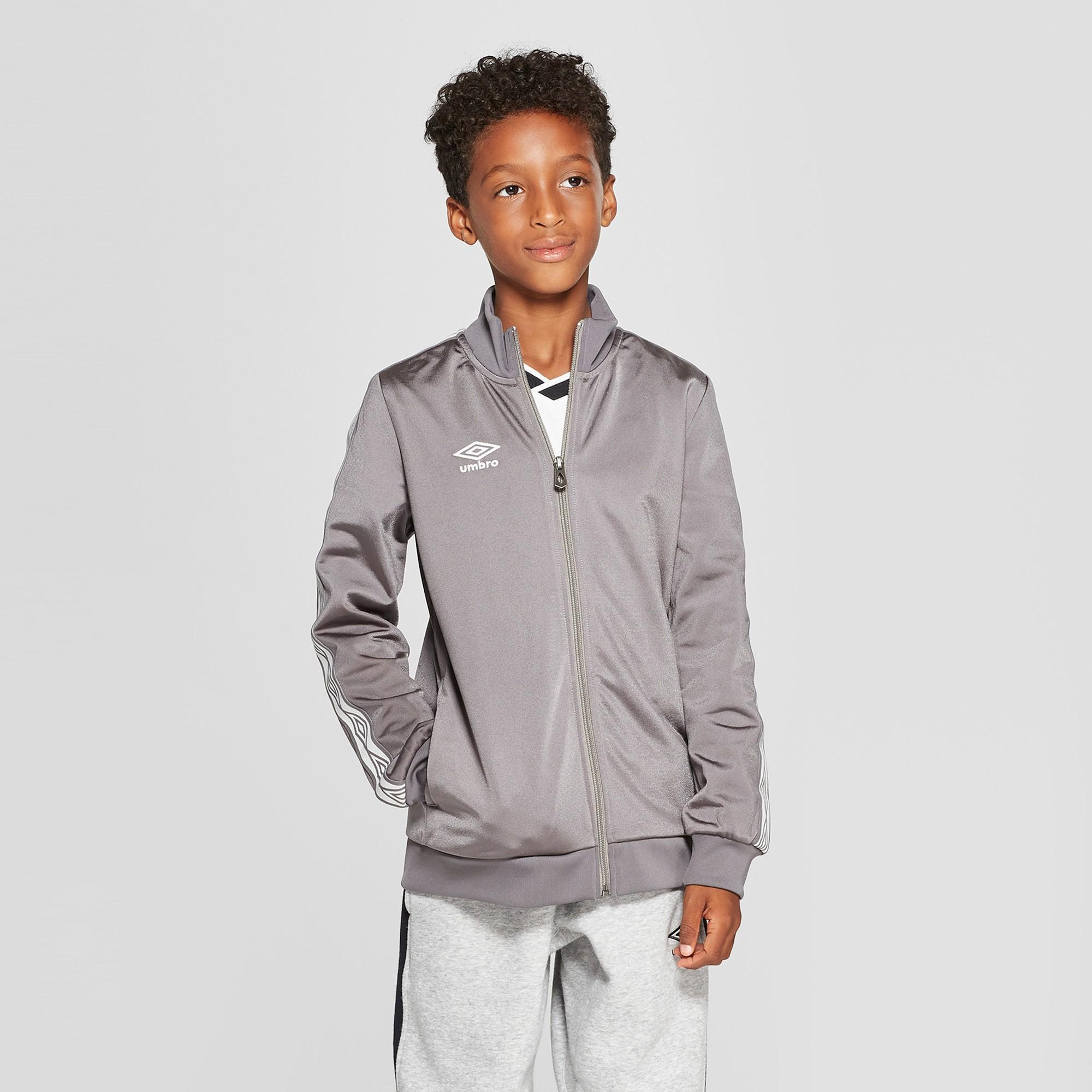 Umbro Boys' Double Diamond Track Jacket - Gray XS