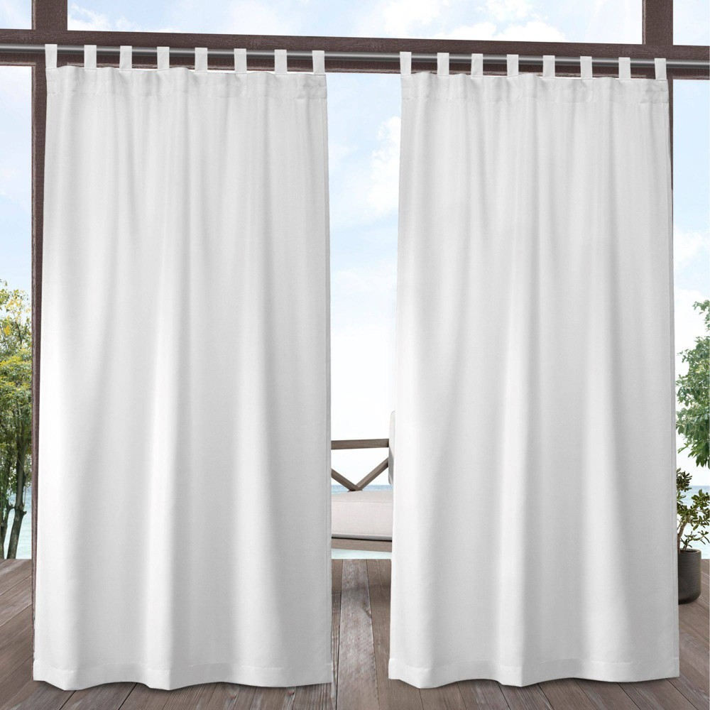 Set of 2 108x54 Indoor/Outdoor Solid Cabana Tab Top Window Curtain Panel White - Exclusive Home Promos