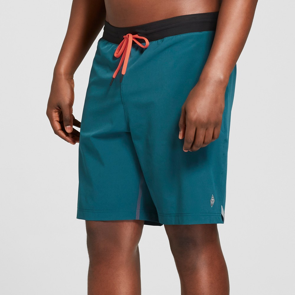AquaTech Men's 9 Solid Jade Swim Trunks With AquaFlex Waistband - Jade L, Green