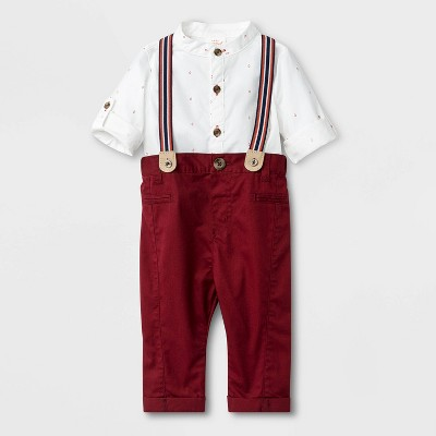 Baby Boys' Poplin Top And Twill Pants Set - Cat & Jack™ Red/White 3-6M