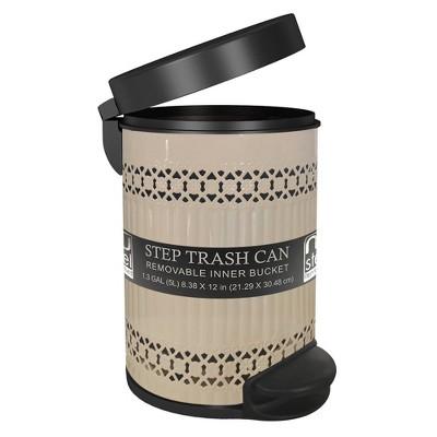 5L Round Metal Step Trash Can Wastebasket Ivory - Nu Steel